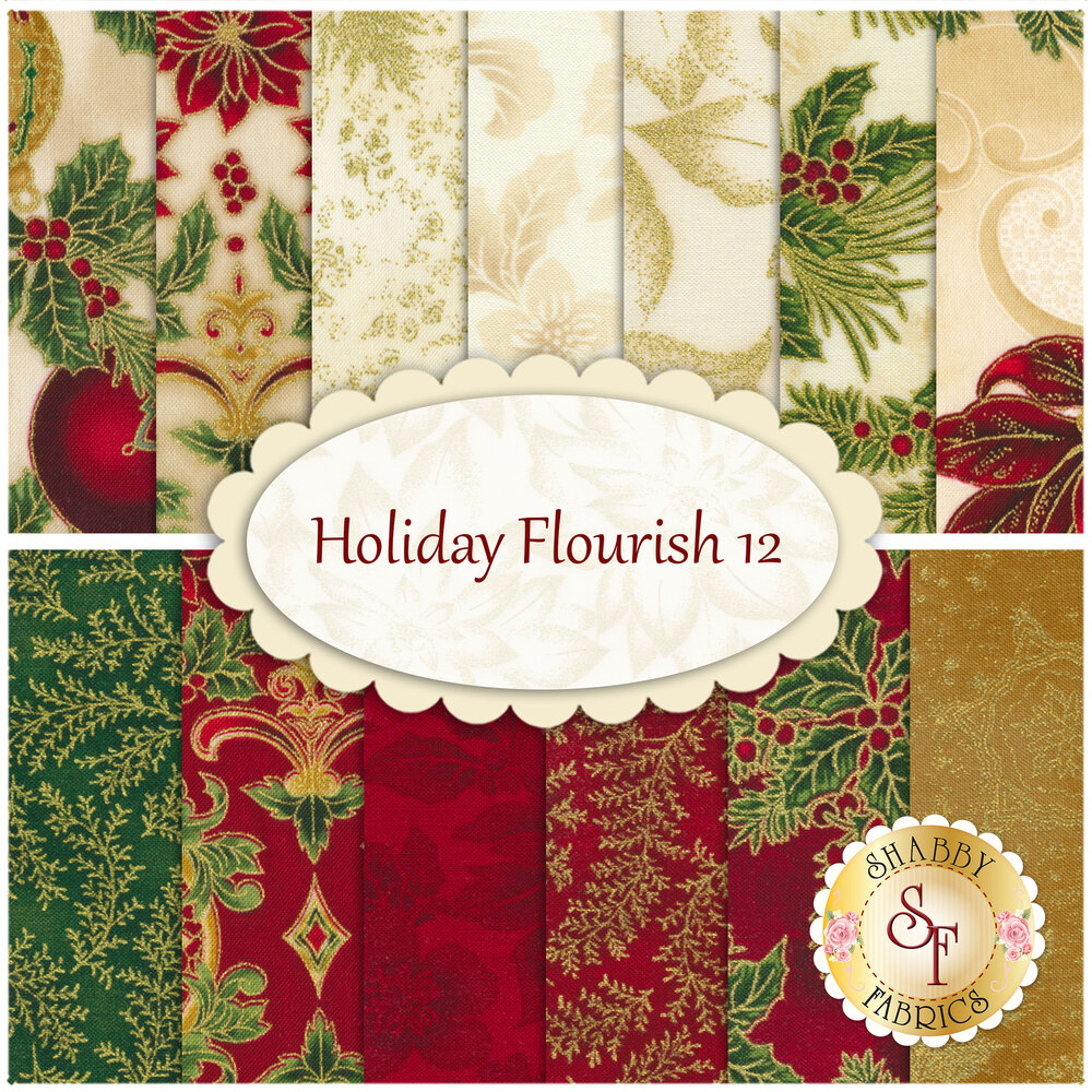 A collage of the 13 fabrics included in the Holiday Flourish 12  13 FQ Set