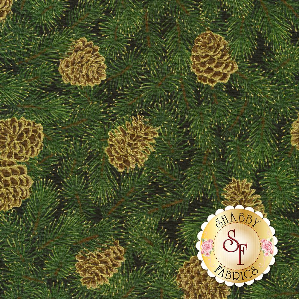 Metallic gold pinecones on green pine tree on black | Shabby Fabrics