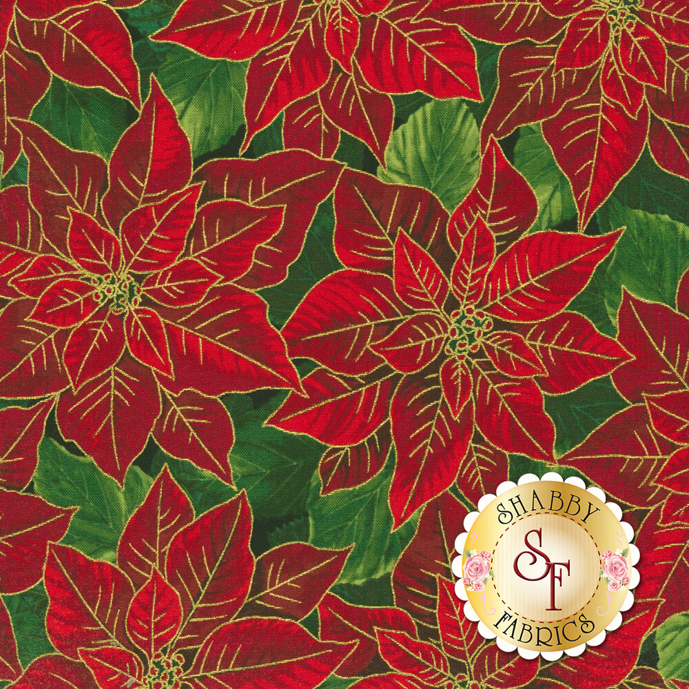 Red poinsettias with green leaves and gold accents | Shabby Fabrics