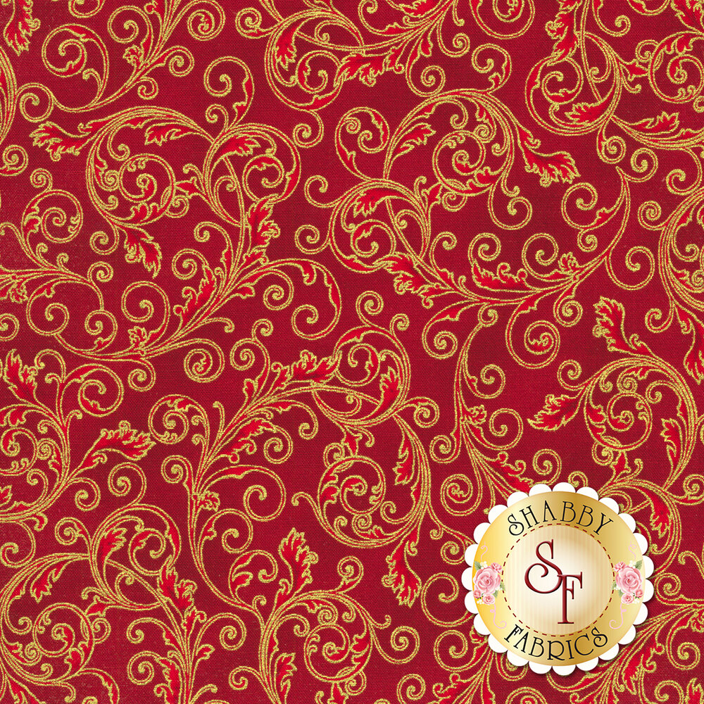 Red scrolls with gold accents all over red | Shabby Fabrics