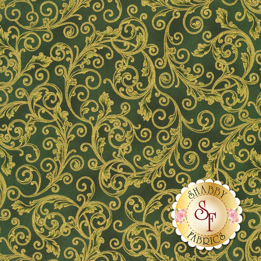 Green scrolls with gold accents all over green | Shabby Fabrics