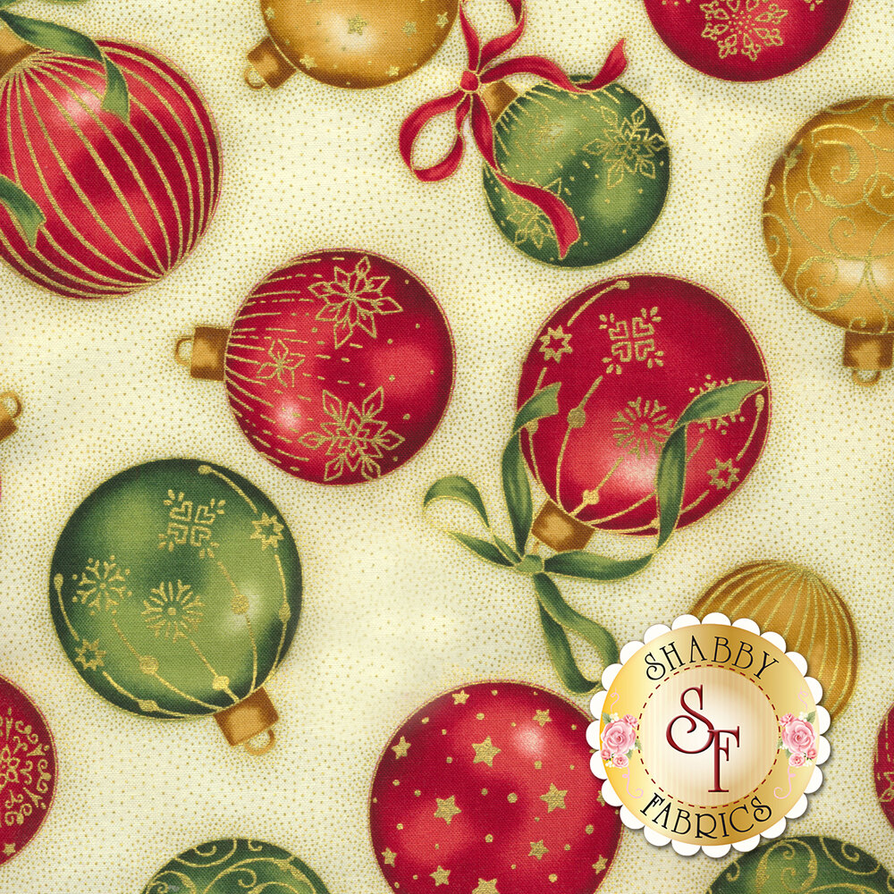 Red, gold, and green ornaments tossed on cream   Shabby Fabrics