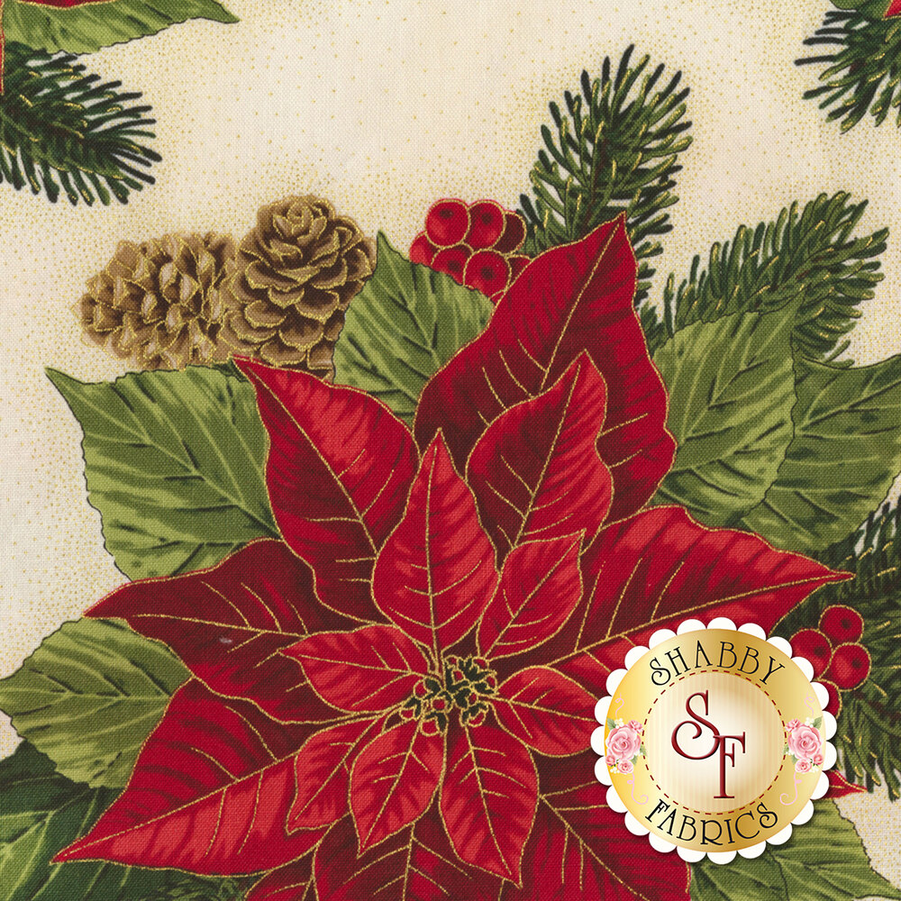 Large red poinsettia with holly berries on cream | Shabby Fabrics