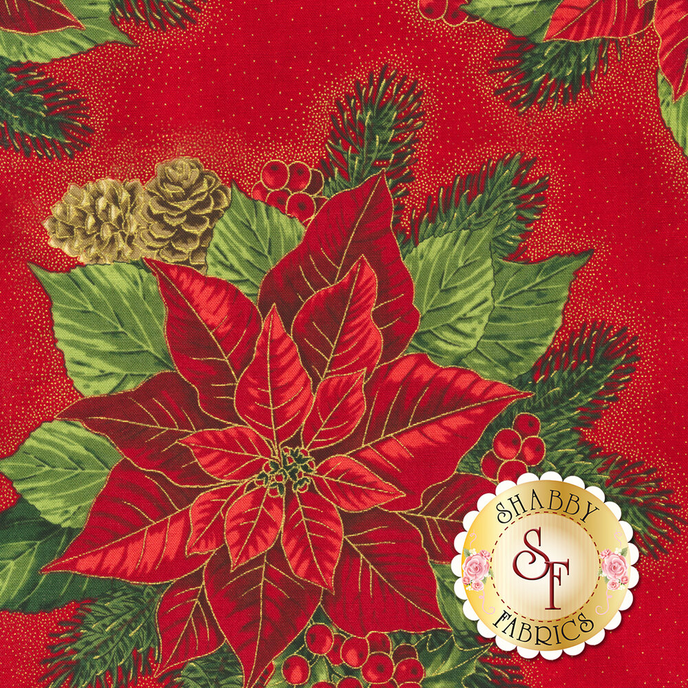 Large red poinsettia with holly berries on red | Shabby Fabrics