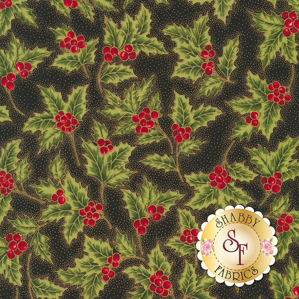 Holly with berries all over black background with metallic gold dots | Shabby Fabrics