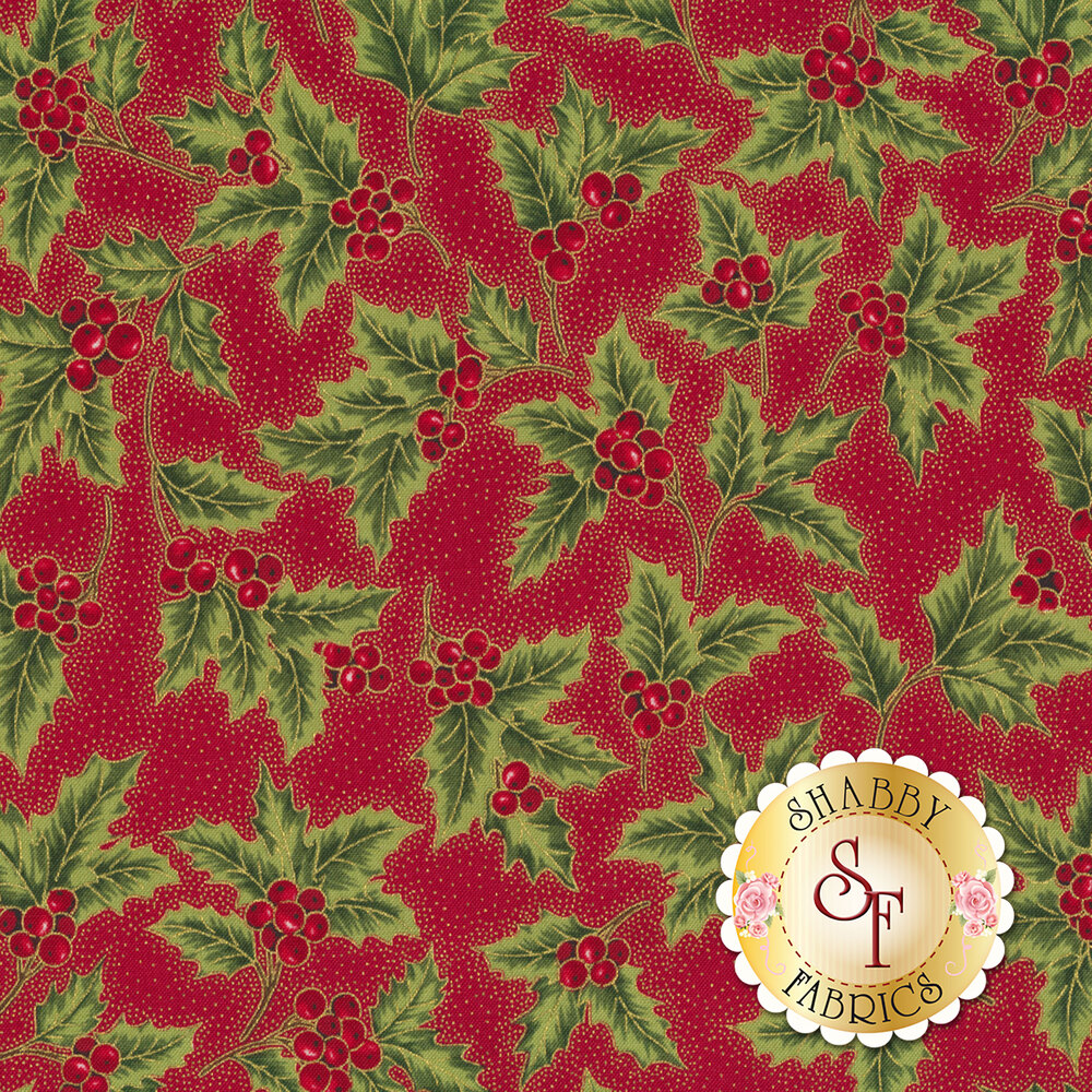 Holly with berries all over red background with metallic gold dots | Shabby Fabrics