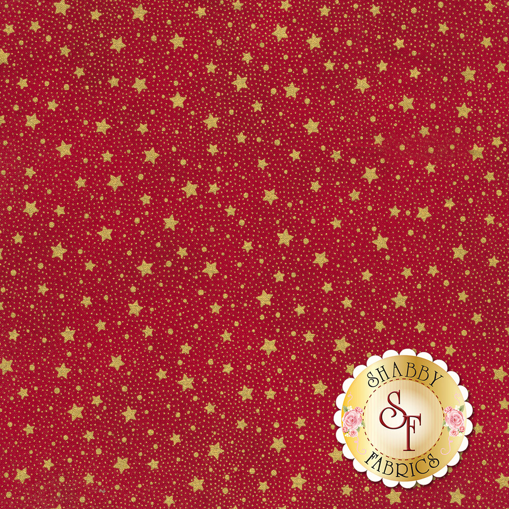 Metallic gold stars and dots all over red | Shabby Fabrics
