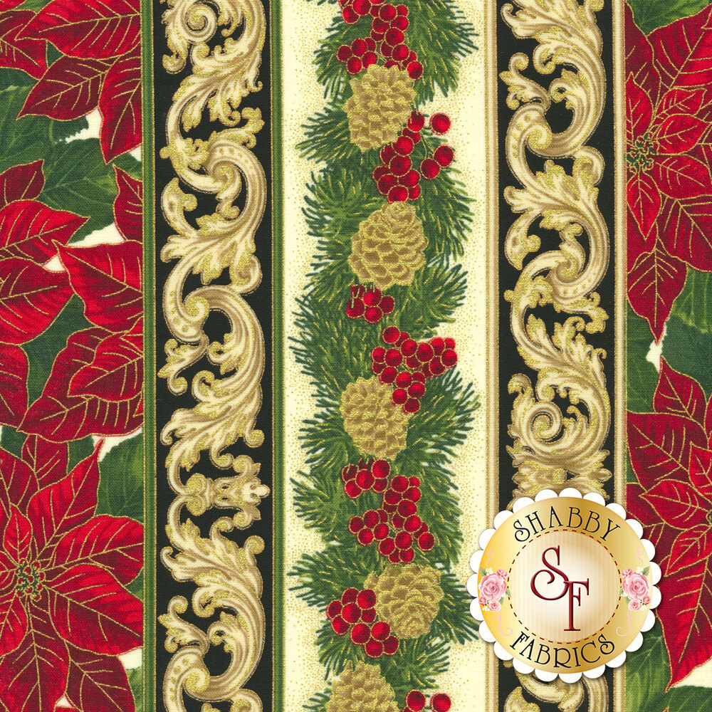 Christmas foliage stripe featuring pinecones and poinsettias | Shabby Fabrics
