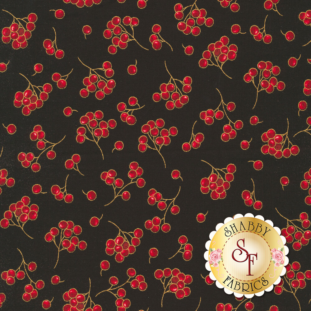 Red berries tossed on black | Shabby Fabrics