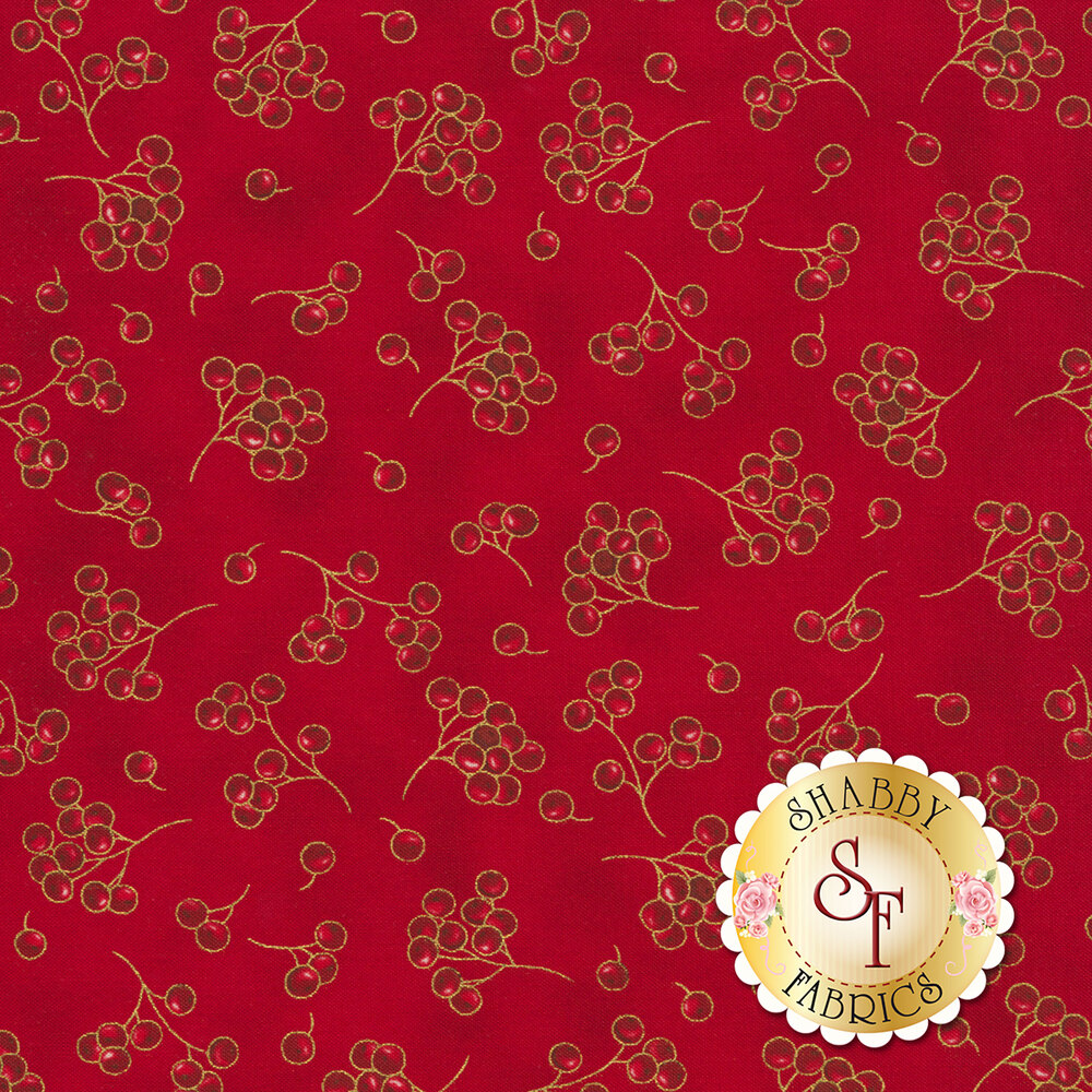 Red berries tossed on red | Shabby Fabrics