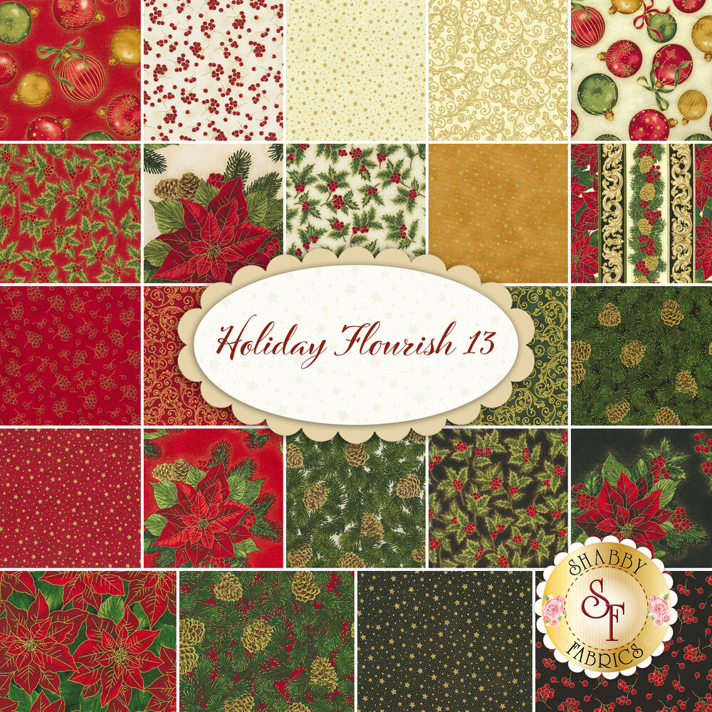 Collage of fabrics included in Holiday Flourish 13 FQ Set | Shabby Fabrics