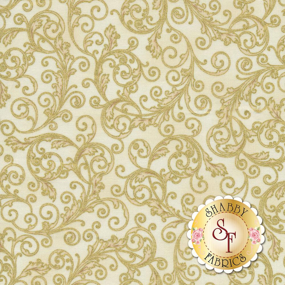 Metallic gold scrolls all over cream | Shabby Fabrics