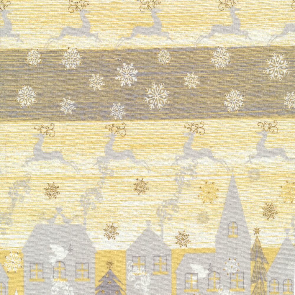 Silver and gold metallic fabric with houses and reindeer | Shabby Fabrics