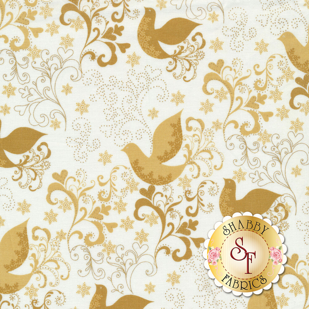 Metallic swirls and scrolls with beautiful birds on a white background | Shabby Fabrics