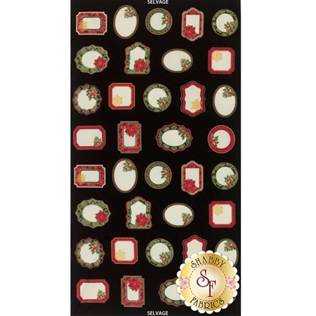 Holiday CM4284-Black Holiday Labels Panel by Timeless Treasures