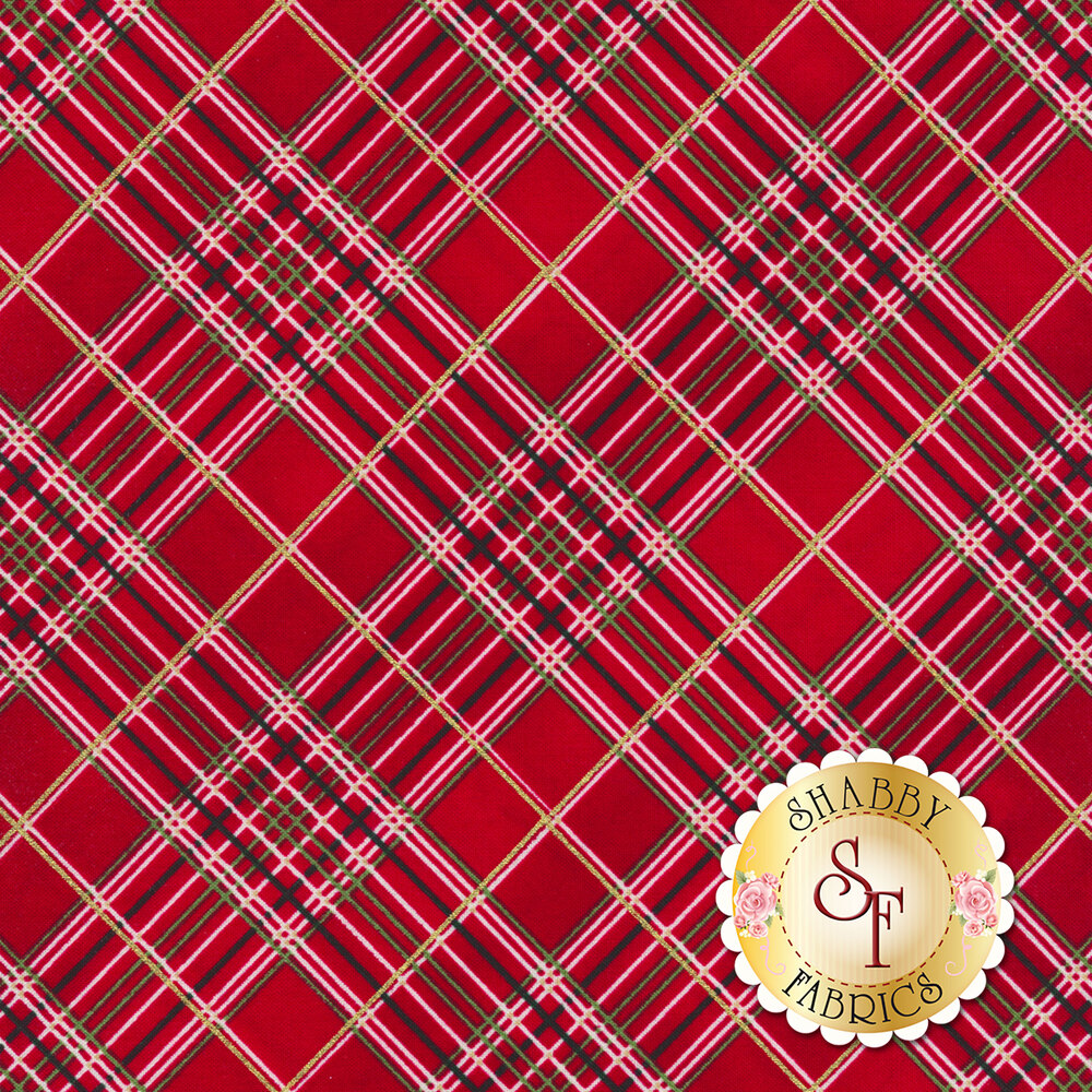 Red plaid fabric with black, white, and green stripes and a gold metallic stripe