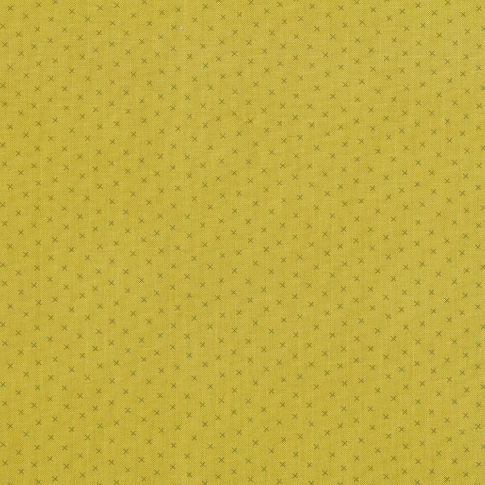 Small dark green X's on a light green background | Shabby Fabrics