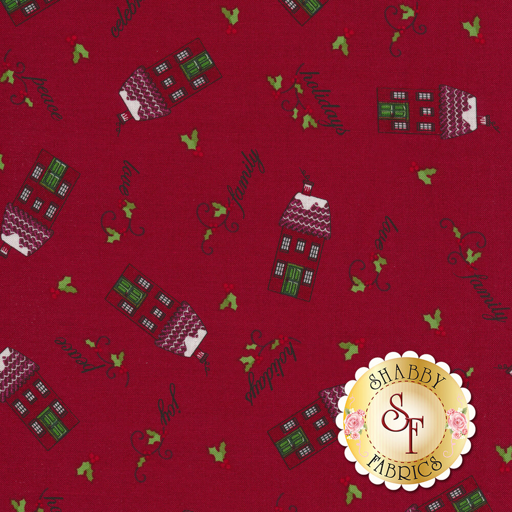 Tossed red houses, holly, and words on red | Shabby Fabrics