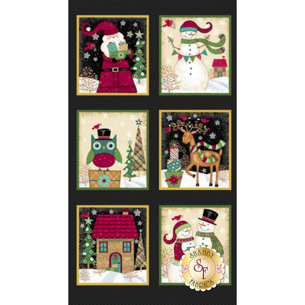 "The full image of the 24½"" x 44"" panel displaying Christmas scenes in each box 