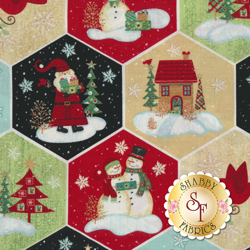 A detail swatch featuring a fun Christmas scene in each hexagon pattern | Shabby Fabrics