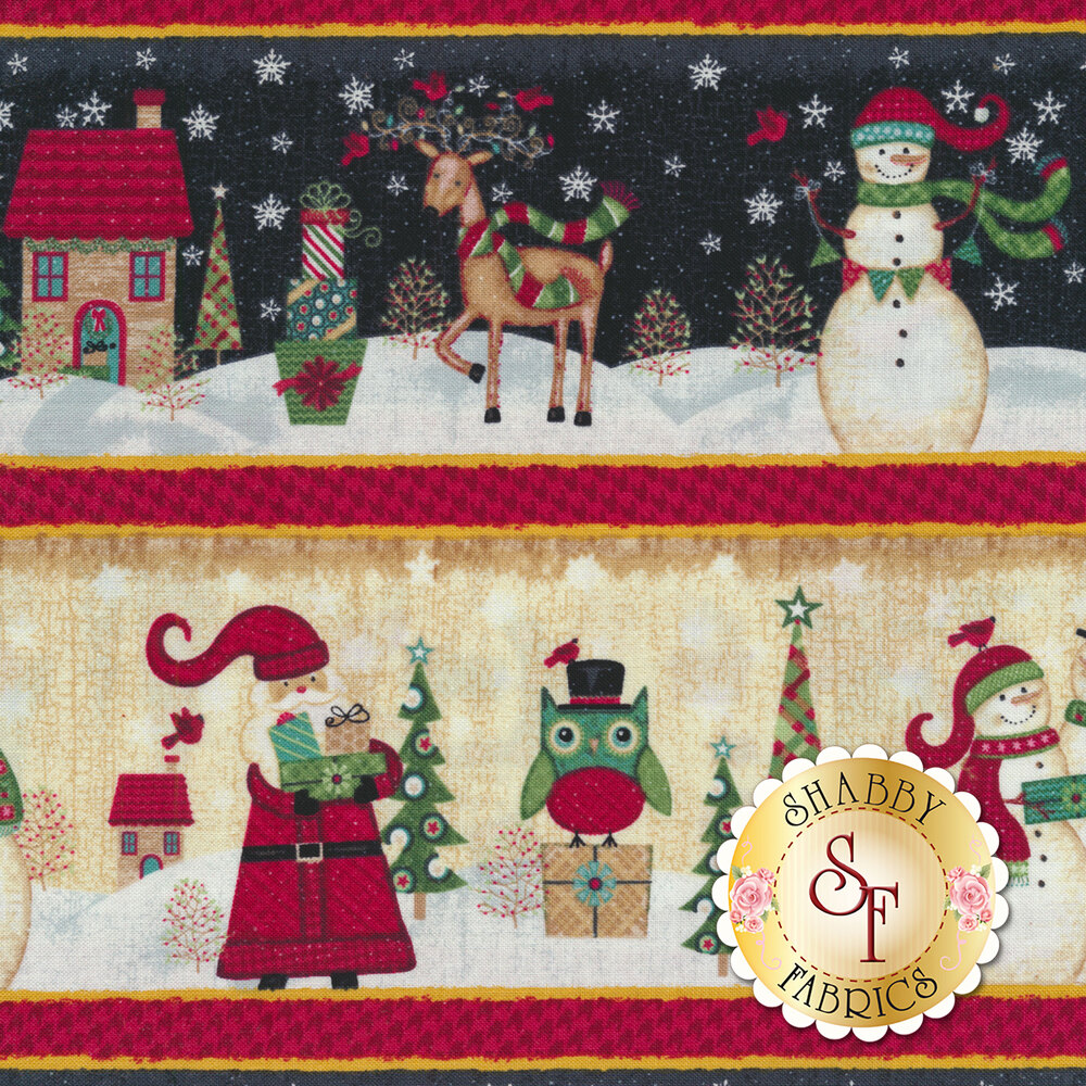 A detail swatch of the border stripe featuring Christmas scenes   Shabby Fabrics