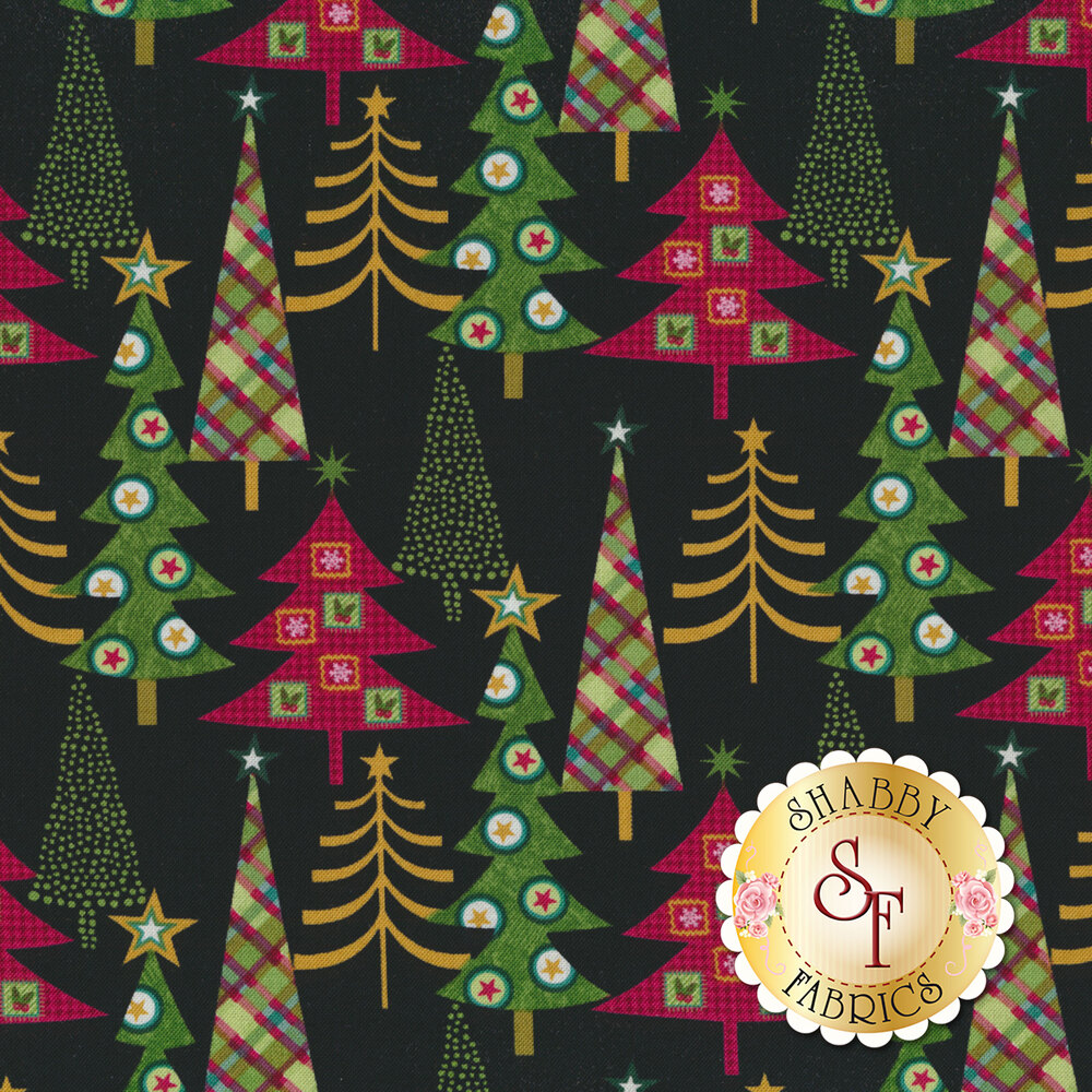 Detailed swatch featuring multiple Christmas trees with stars | Shabby Fabrics