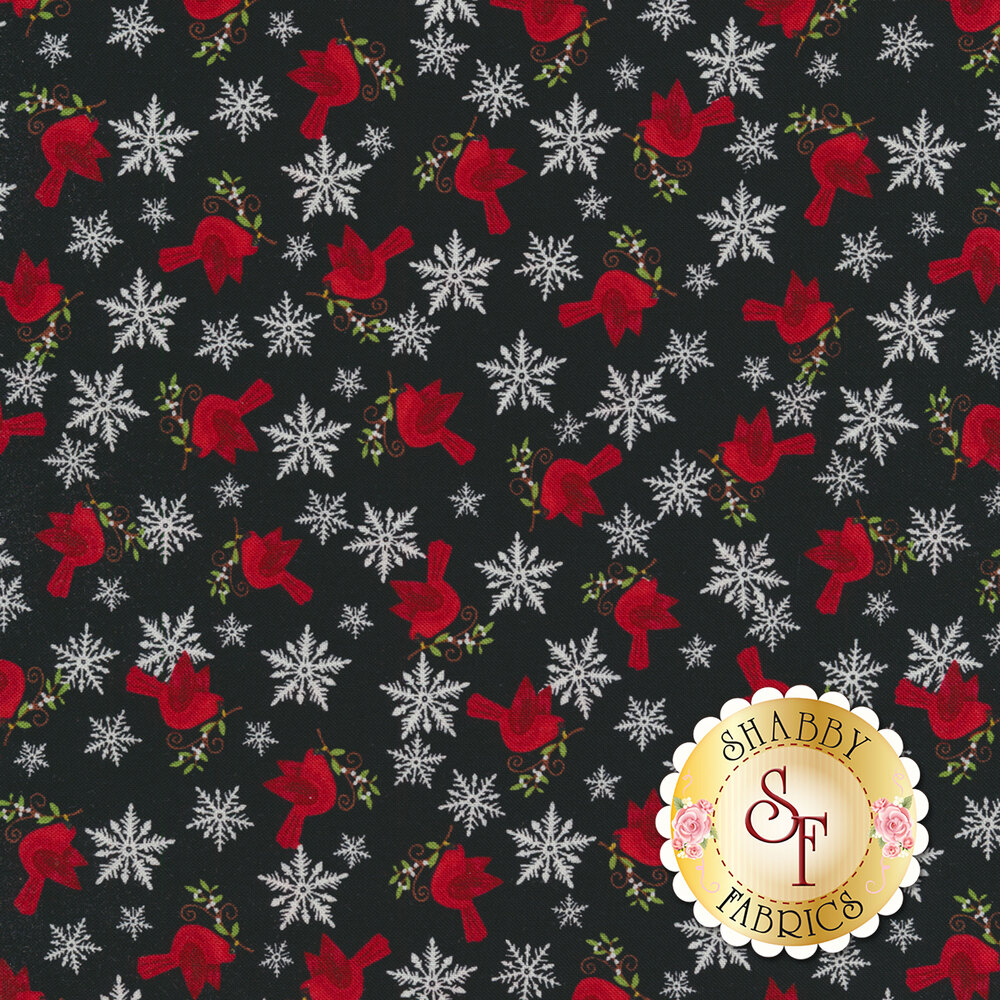 Detailed swatch featuring tossed snowflakes and cardinals | Shabby Fabrics