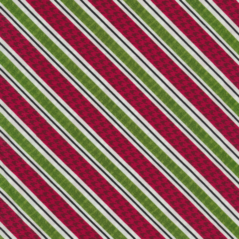 Detailed swatch of this diagonal red and green striped print | Shabby Fabrics