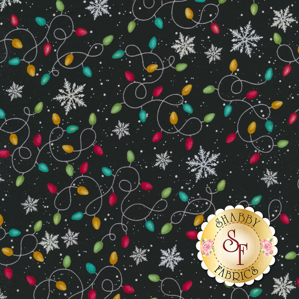 Detailed swatch of tangled Christmas lights with snowflakes in the background | Shabby Fabrics