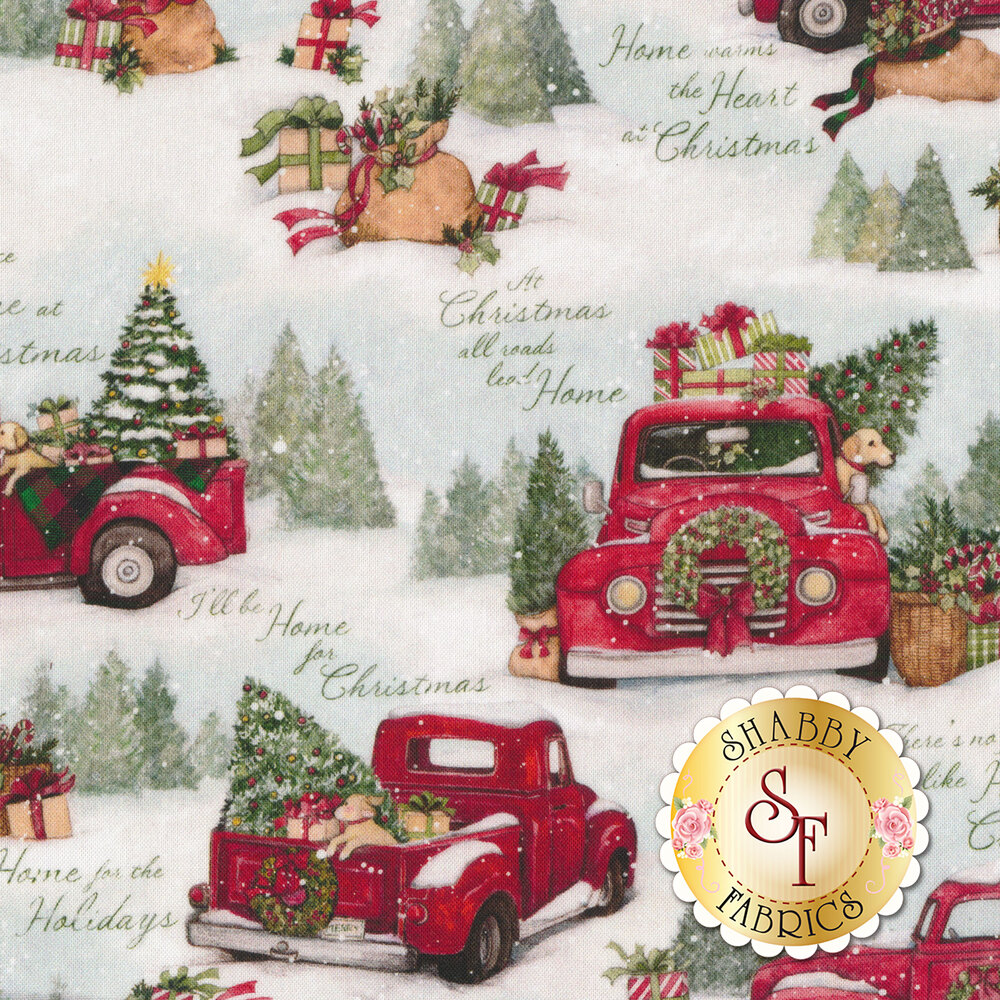 Home For Christmas Red Truck Multi by Springs Creative   Shabby Fabrics