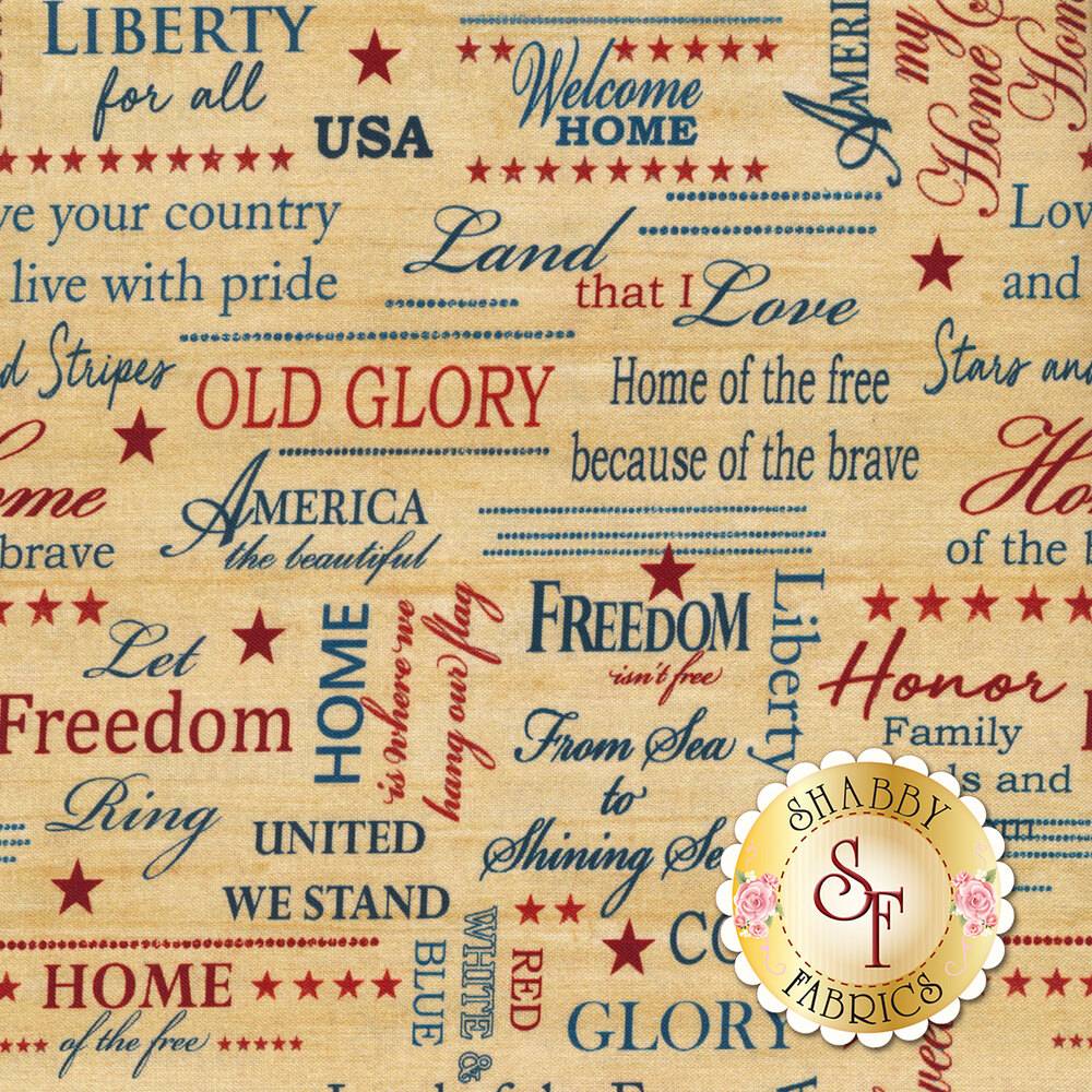 A beige mottled fabric with patriotic words and stars | Shabby Fabrics