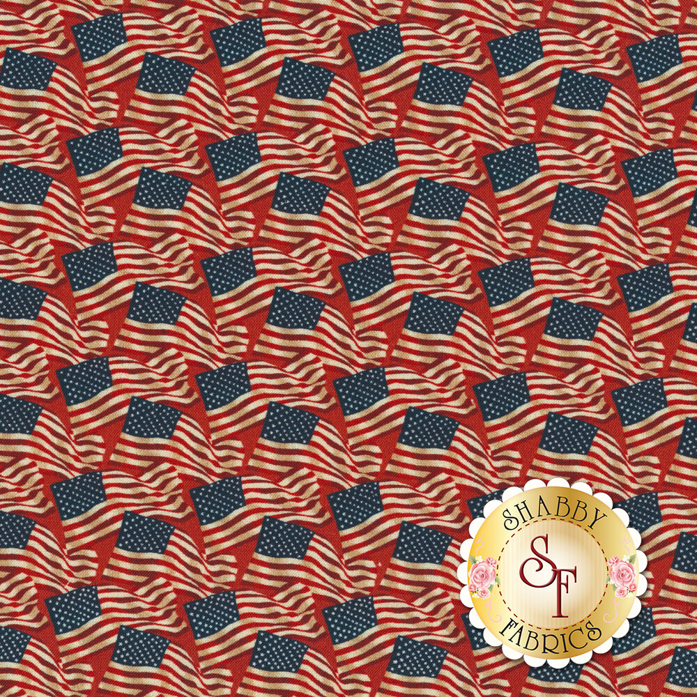 A patriotic fabric with American flags on a red background | Shabby Fabrics