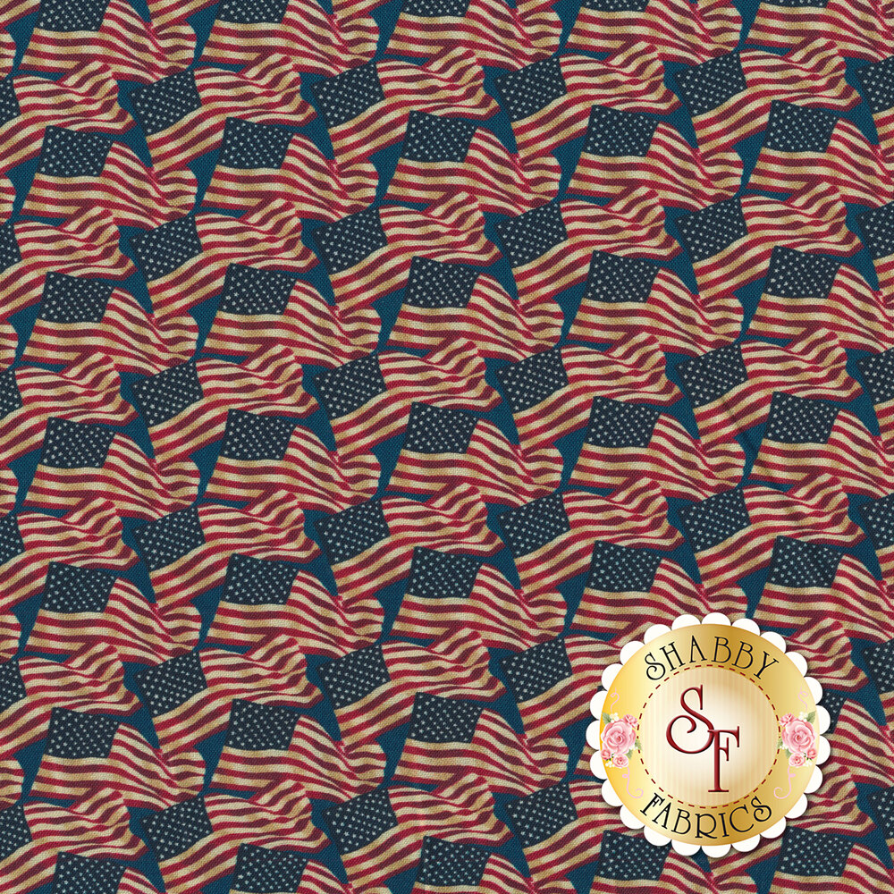 A patriotic fabric with American flags on a blue background | Shabby Fabrics