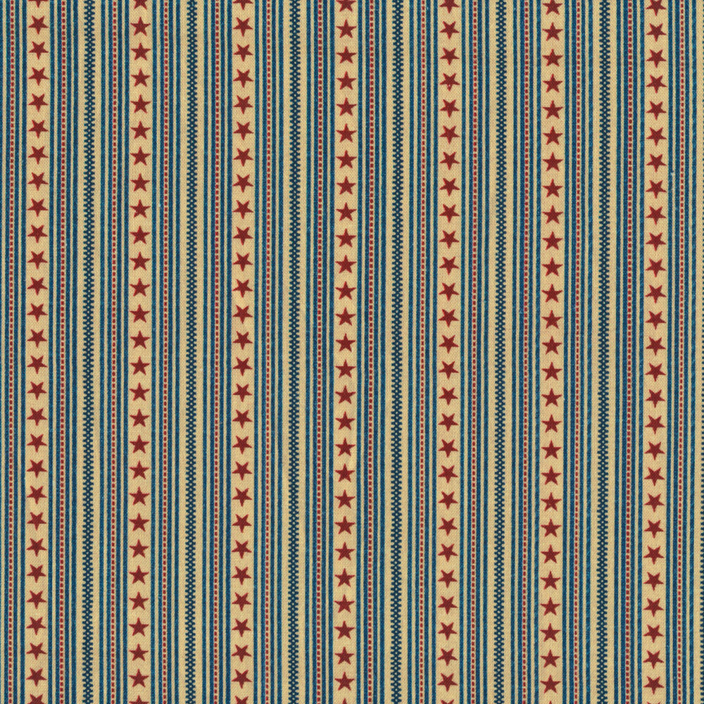 Patriotic fabric with striped stars on a beige background | Shabby Fabrics