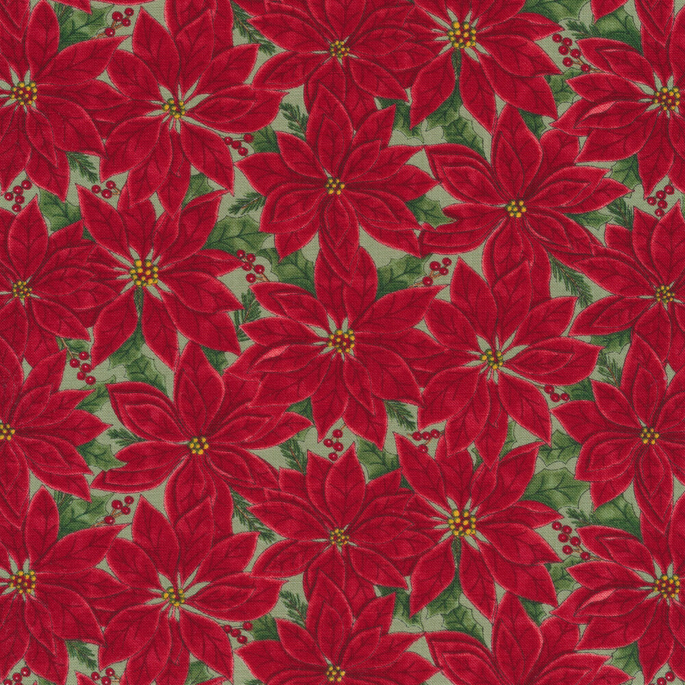 Red poinsettias all over a green background