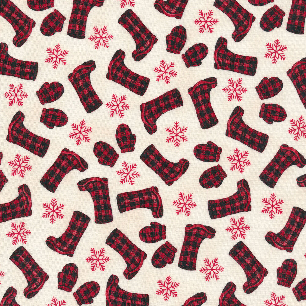 Tossed red and black plaid boots and mittens with snowflakes on a white background