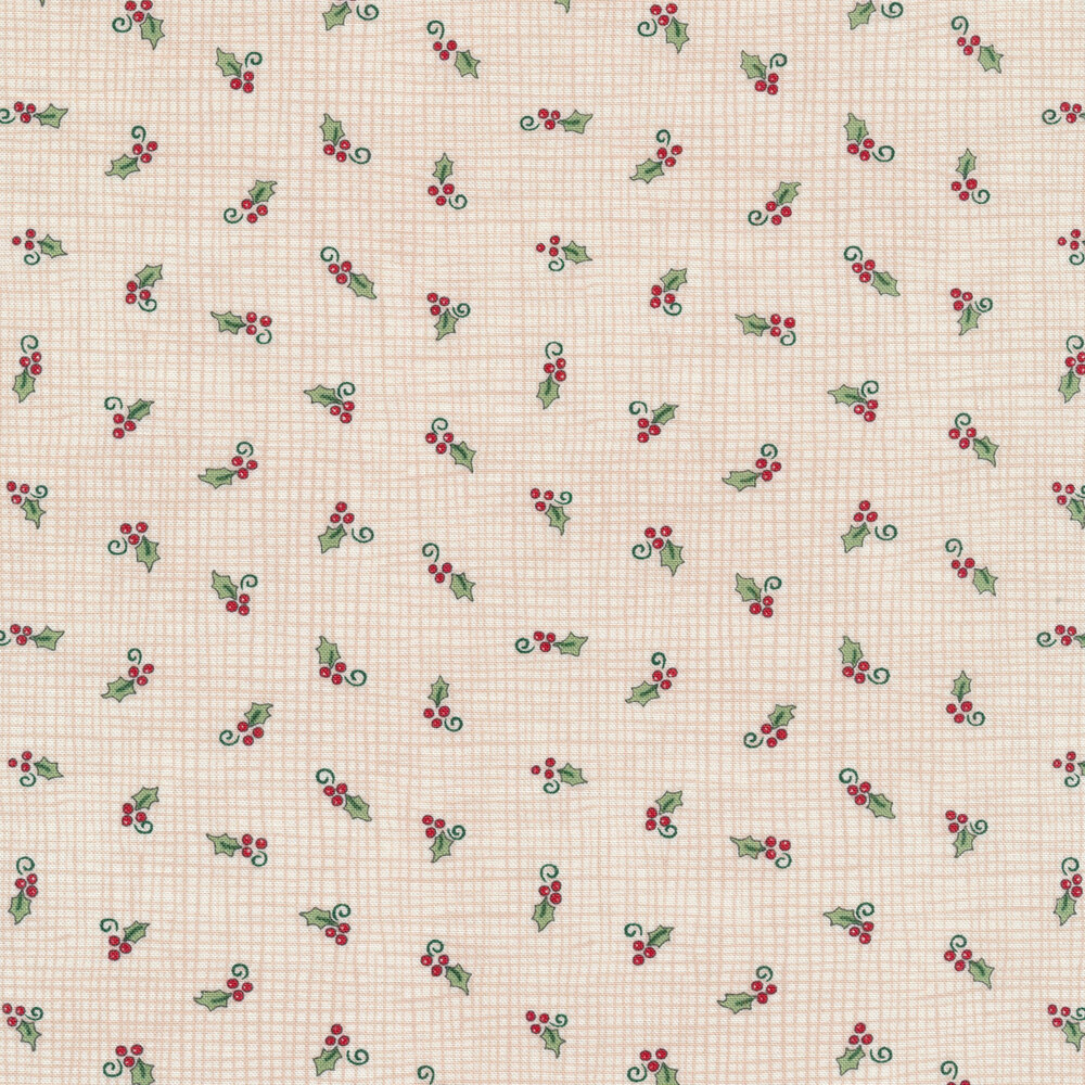 Tossed holly berries on a cream burlap texture background