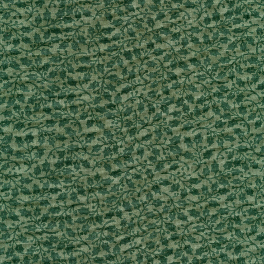 Tonal dark green holly leaves and vines on a light green background