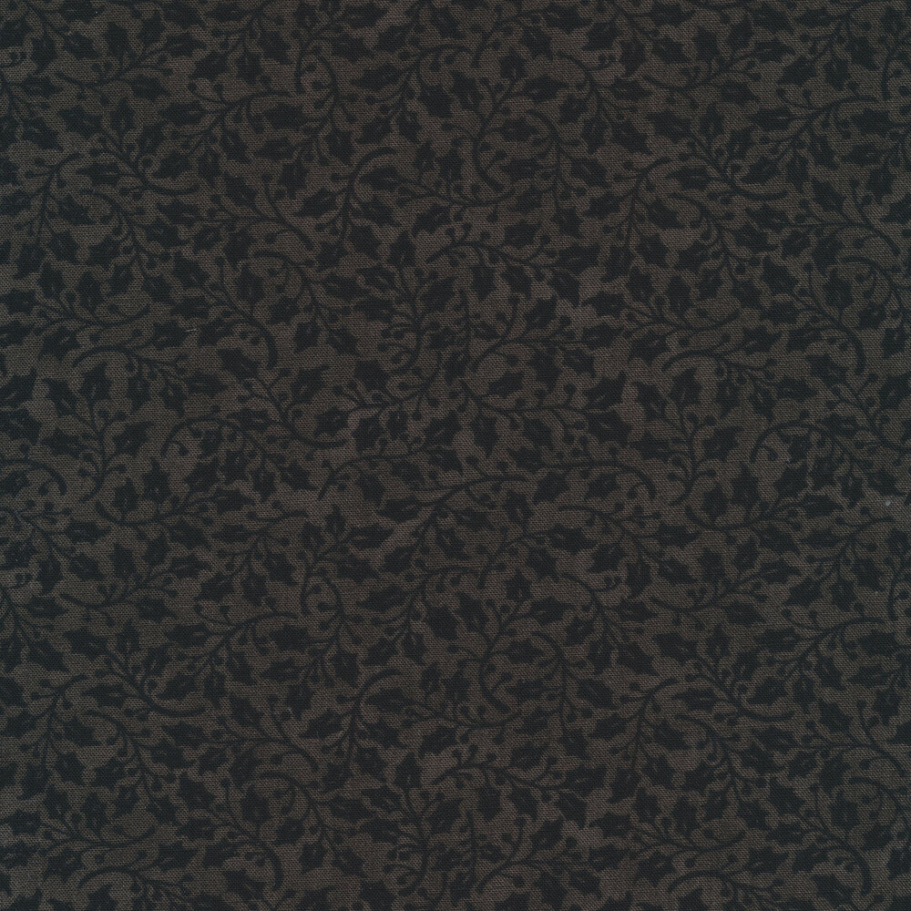 Tonal black holly leaves and vines on a charcoal background