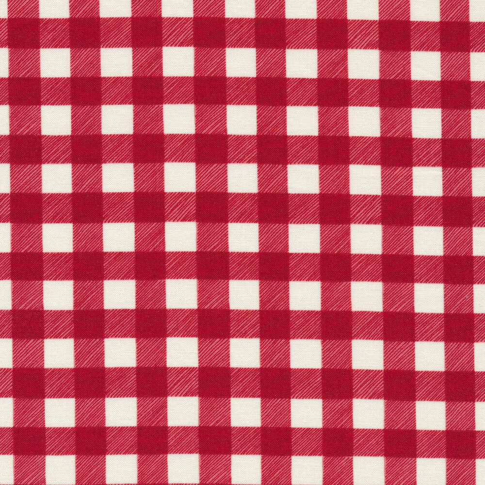 Red and white buffalo plaid check