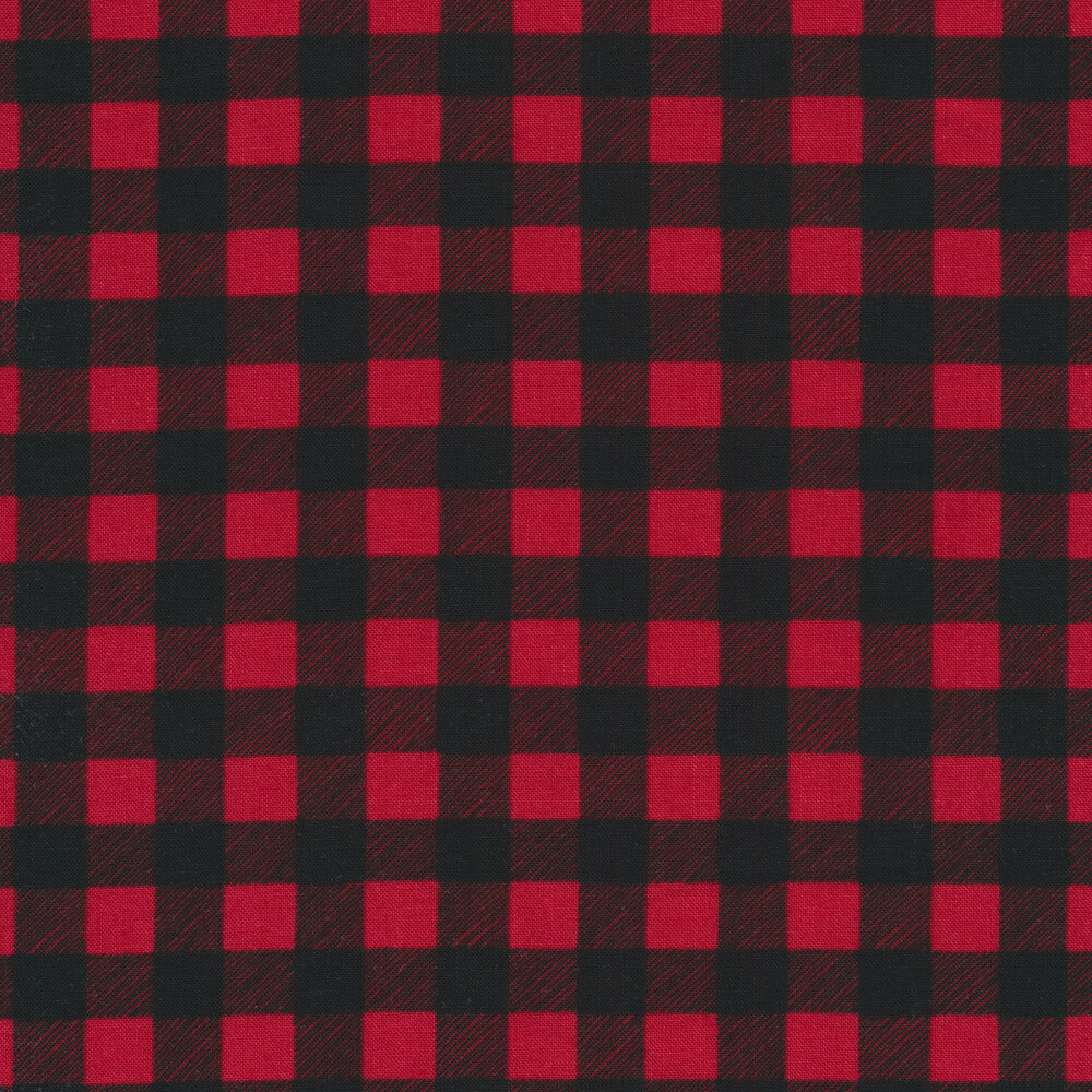 Black and red buffalo plaid check