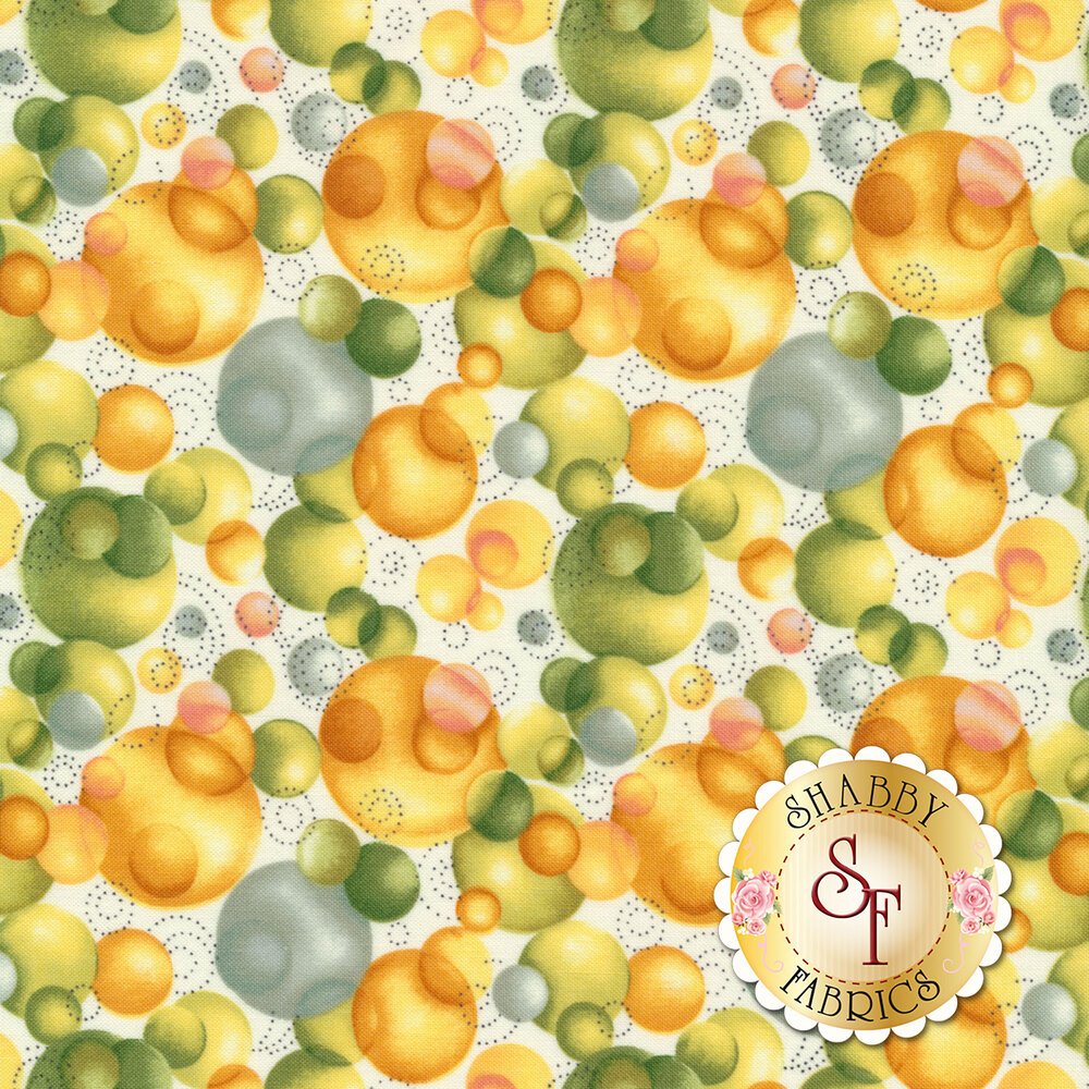 Blue, green, and orange baubles on a white background | Shabby Fabrics