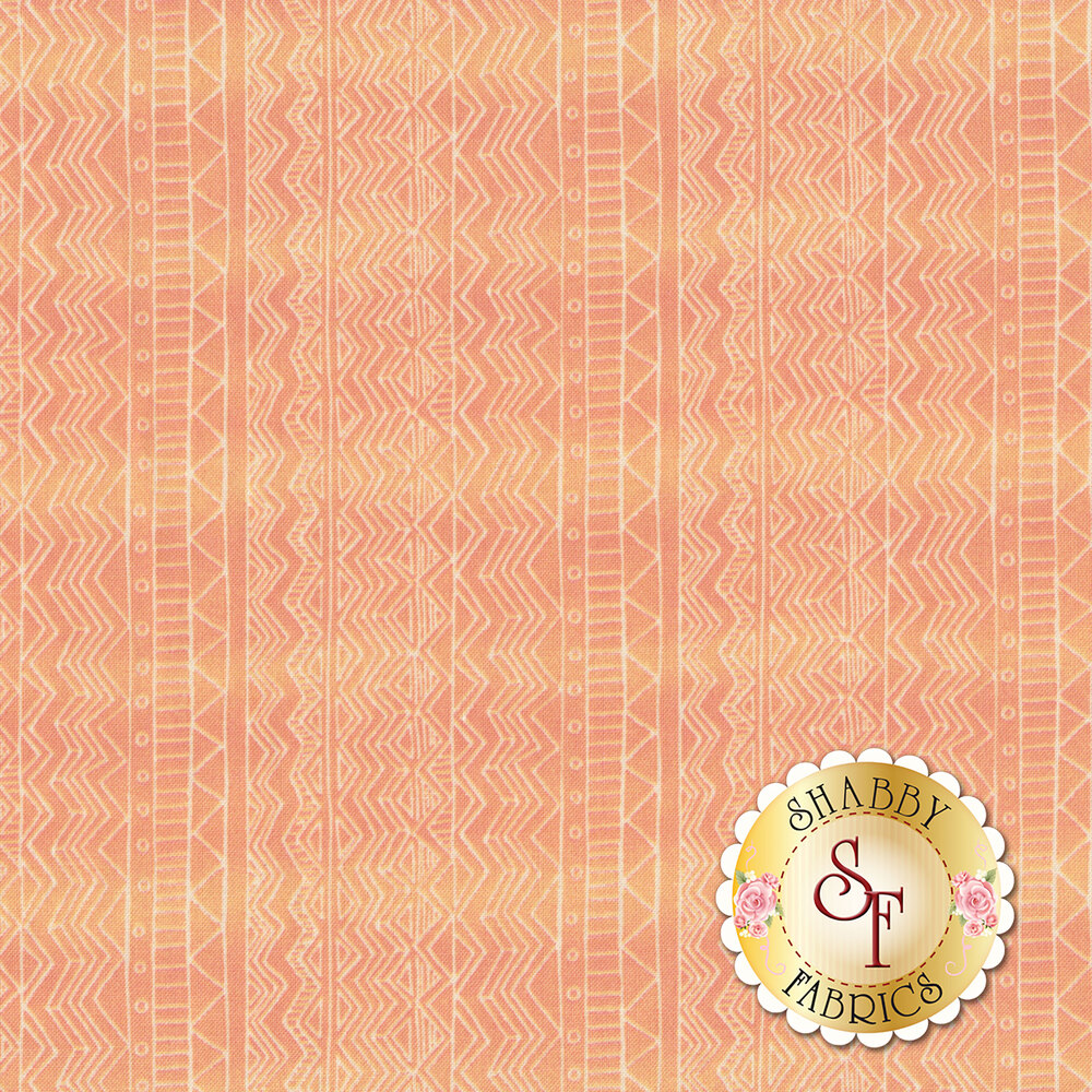 Wavy cream stripe design on orange background | Shabby Fabrics