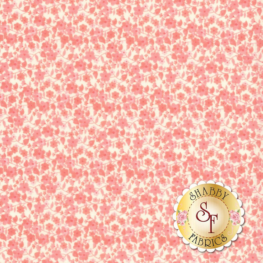 Pink flowers on cream background | Shabby Fabrics