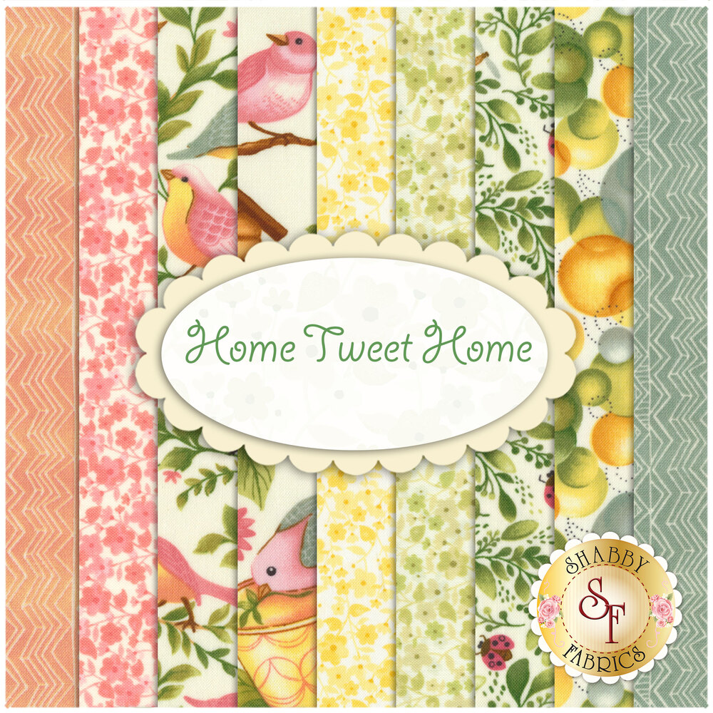 Collage of fabrics included in Home Tweet Home FQ Set | Shabby Fabrics