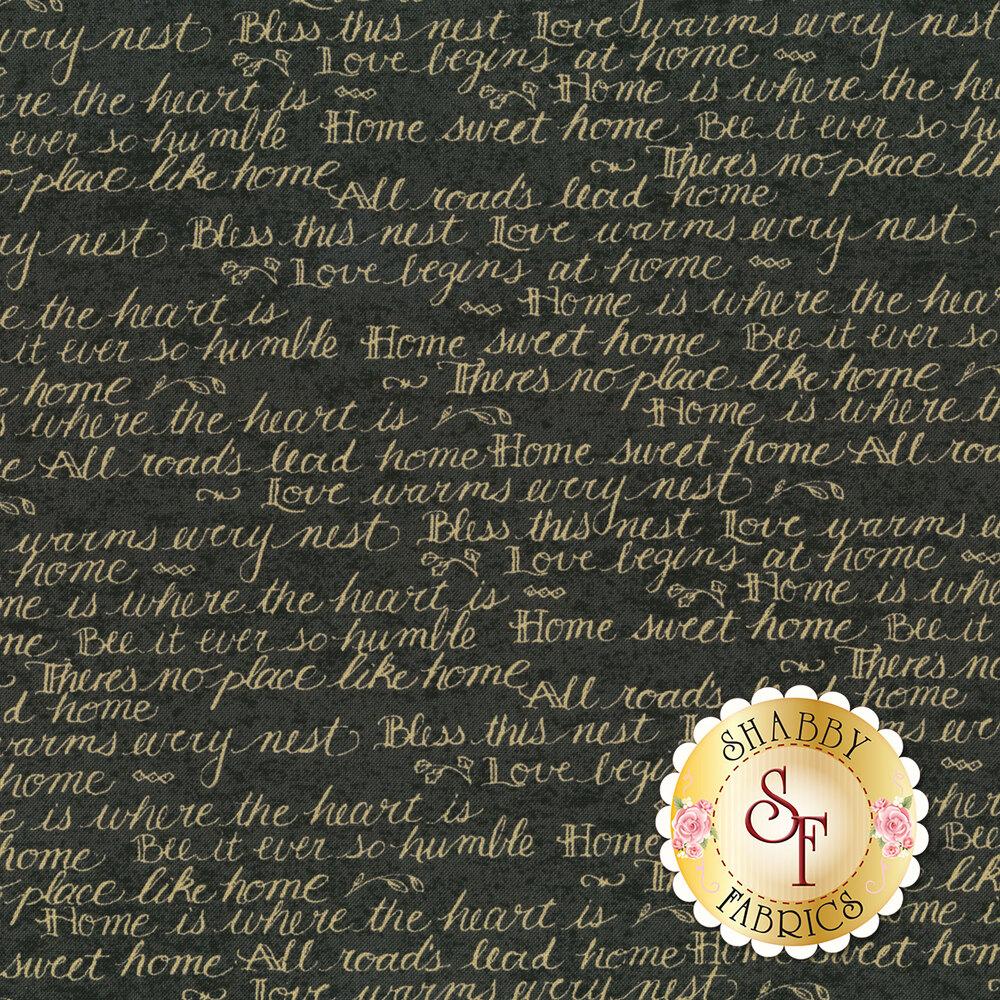 Tan script on gray | Shabby Fabrics