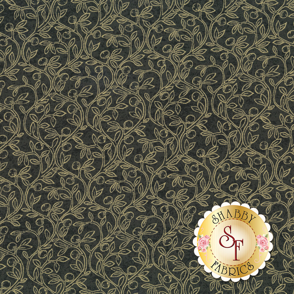 Tan leaves and vines all over gray | Shabby Fabrics