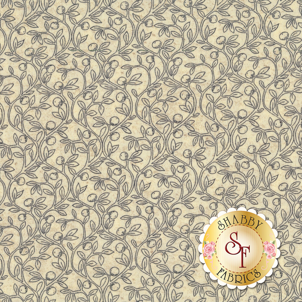 Gray leaves and vines all over cream | Shabby Fabrics