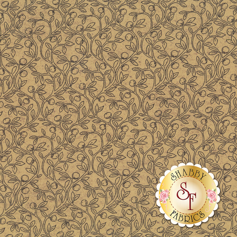 Gray leaves and vines all over tan | Shabby Fabrics
