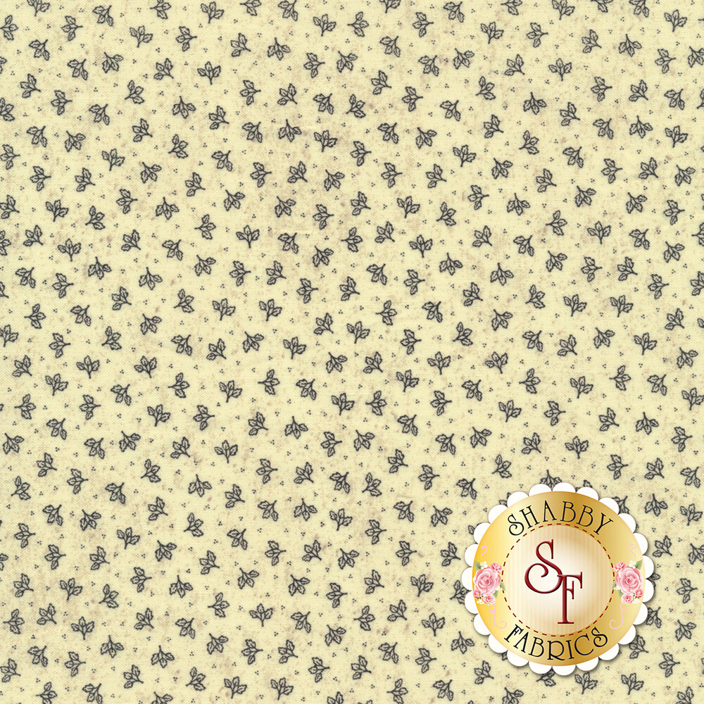 Small leaf clusters all over cream | Shabby Fabrics